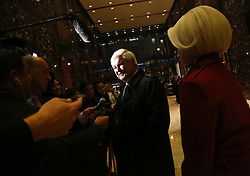November 21, 2016 - New York, New York, United States of America - Former Speaker of the United States House of Representatives Newt Gingrich (Republican of Georgia) accompanied by his wife Callista, speaks to journalists following a meeting with US President-elect Donald Trump, in the Trump Tower, November 21, 2016, in New York, New York..Credit: Aude Guerrucci / Pool via CNP (Credit Image: © Aude Guerrucci/CNP via ZUMA Wire)