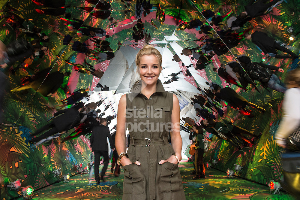 """TV presenter and children's book writer Helen Skeleton pictured at Sutton Walk on the South Bank in celebration of """"Spark Your City"""" and Back to School whereby she is turning the tunnel between Waterloo and Southbank in to a giant urban jungle Kaleidoscope.<br /> Picture by Daniel Hambury/Stella Pictures Ltd +44 7813 022858<br /> 27/08/2015"""