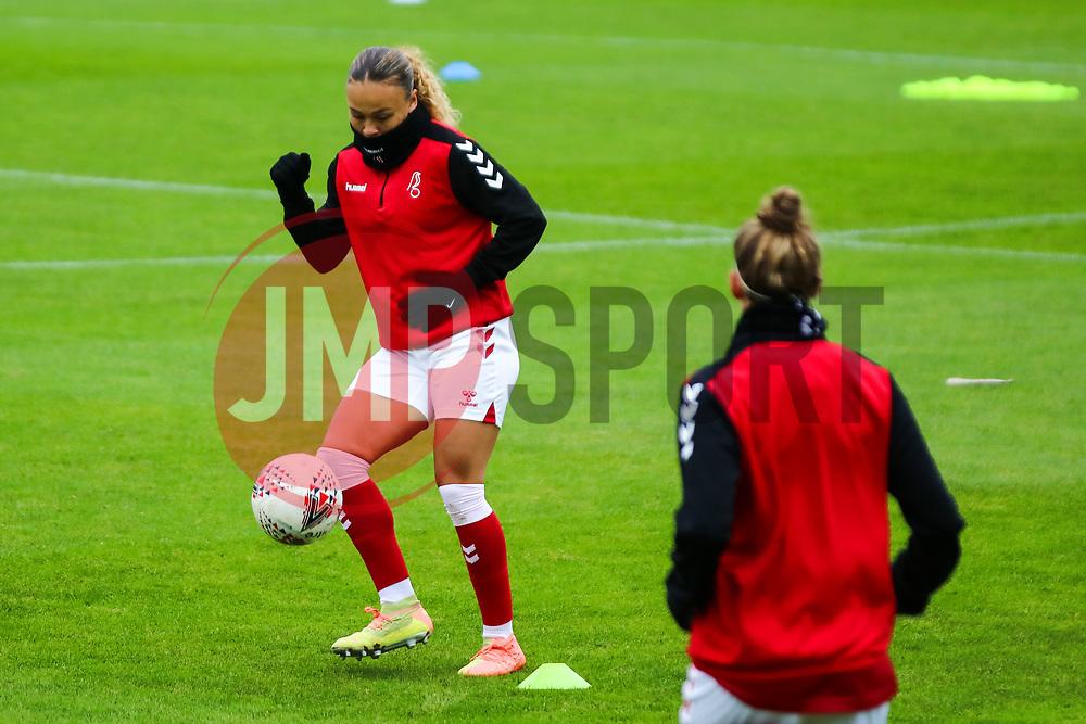 Ebony Salmon of Bristol City Women during warm-up - Mandatory by-line: Will Cooper/JMP - 18/10/2020 - FOOTBALL - Twerton Park - Bath, England - Bristol City Women v Birmingham City Women - Barclays FA Women's Super League