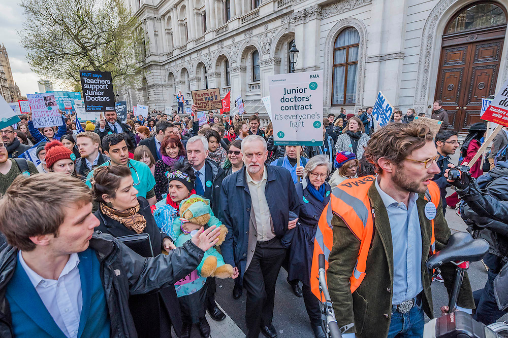 Jeremy Corbin and John McDonnell join the march - Do9ctors leave the picket line at St Thomas' Hospital to march to the DoH in Whitehall. Junior Doctors stage a 7 day all out strike action, this time imncluding accident and emergency coverage. They are striking against the new contracts due to be imposed by the Governemnt and health minister Jeremy Hunt. They are supported by the British Medical Association.