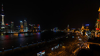 Shanghai, China - April 9, 2013: panoramic view of the bund and pudong at night at the city of Shanghai in China on april 9th, 2013