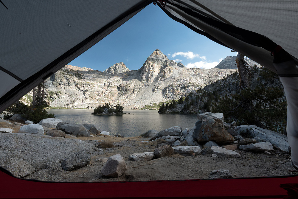 Painted Lady and Rae Lakes as seen from inside a tent along the John Muir Trail, California