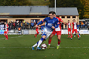 Alex Byrne of Matlock Town (M) in control of the ball during the Northern Premier League match between Matlock FC and Ashton United at the Proctor Cars Stadium on October 10th, 2020 in Matlock, Derbyshire. Local fans welcomed to watch the match maintaining Government's Covid-19 guidelines. (VXP Photo/ Shaun Hardwick)