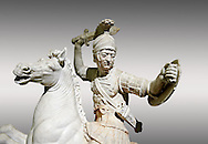 Roman marble sculpture of a warrior on horseback, a 2nd century AD copy from an original 2nd century BC Hellanistic Greek original, inv 6405 Farnese Collection, Naples  Museum of Archaeology, Italy .<br /> <br /> If you prefer to buy from our ALAMY STOCK LIBRARY page at https://www.alamy.com/portfolio/paul-williams-funkystock/greco-roman-sculptures.html . Type -    Naples    - into LOWER SEARCH WITHIN GALLERY box - Refine search by adding a subject, place, background colour, etc.<br /> <br /> Visit our ROMAN WORLD PHOTO COLLECTIONS for more photos to download or buy as wall art prints https://funkystock.photoshelter.com/gallery-collection/The-Romans-Art-Artefacts-Antiquities-Historic-Sites-Pictures-Images/C0000r2uLJJo9_s0