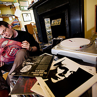 Ian Rankin,Scottish Author and creator of the Inspector Rebus novels looks through his record collection at his home in Edinburgh..Picture Michael Hughes/Maverick
