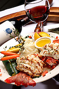 Delicious Lobster Dinner And Wine