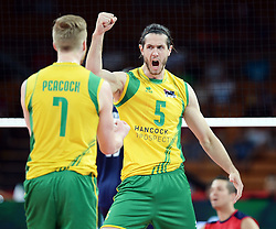 07.09.2014, Jahrhunderthalle, Breslau, POL, FIVB WM, Australien vs Venezuela, Gruppe A, im Bild HARRISON PEACOCK TRAVIS PASSIER // HARRISON PEACOCK TRAVIS PASSIER // during the FIVB Volleyball Men's World Championships Pool A Match beween Australia and Venezuela at the Jahrhunderthalle in Breslau, Poland on 2014/09/07.<br /> <br /> ***NETHERLANDS ONLY***