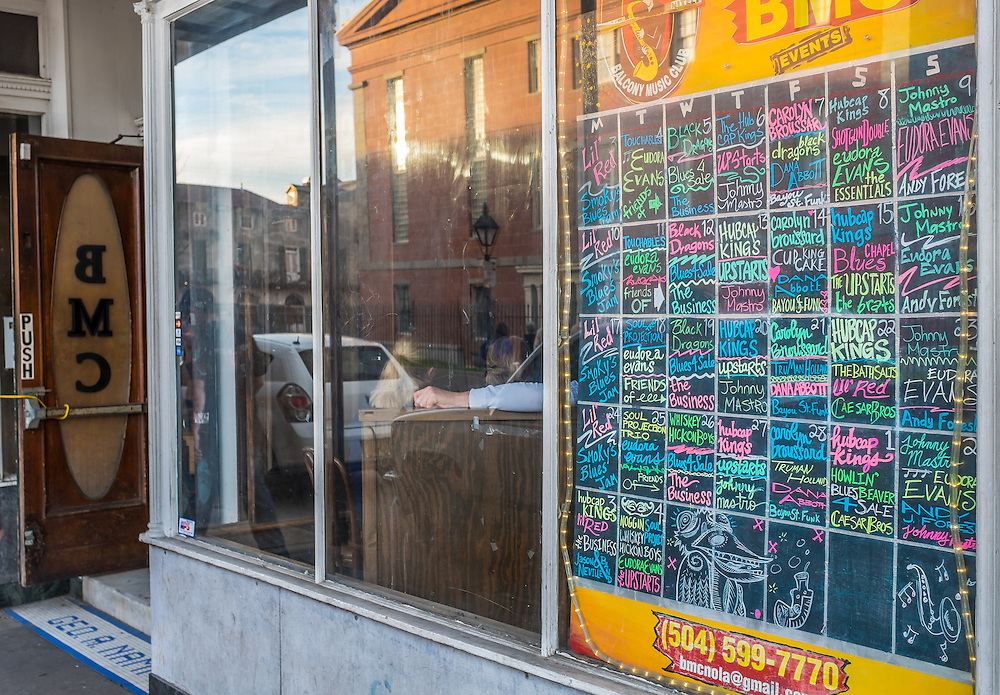 NEW ORLEANS - CIRCA FEBRUARY 2014: View of sign annoucing shows in a typical music club in New Orleans in Louisiana.