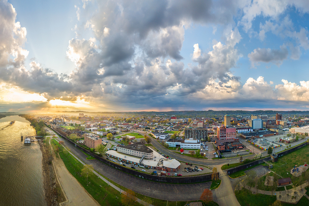 Sunrise and a nearly 180 degree aerial view over Huntington, West Virginia and Marshall University from the Ohio River front.