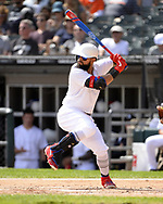CHICAGO - AUGUST 25:  Rougned Odor #12 of the Texas Rangers bats against the Chicago White Sox during Players Weekend on August  25, 2019 at Guaranteed Rate Field in Chicago, Illinois.  (Photo by Ron Vesely)  Subject:   Rougned Odor