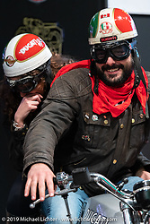 Checking out a vintage Ducati at the Swiss-Moto Customizing and Tuning Show. Zurich, Switzerland. Saturday, February 23, 2019. Photography ©2019 Michael Lichter.