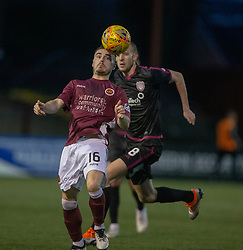 Stenhousemuir's Sean Dickson and Arbroath's Luke Donnelly. Stenhousemuir 1 v 4 Arbroath, Scottish Football League Division One play12/1/2019 at Ochilview Park.