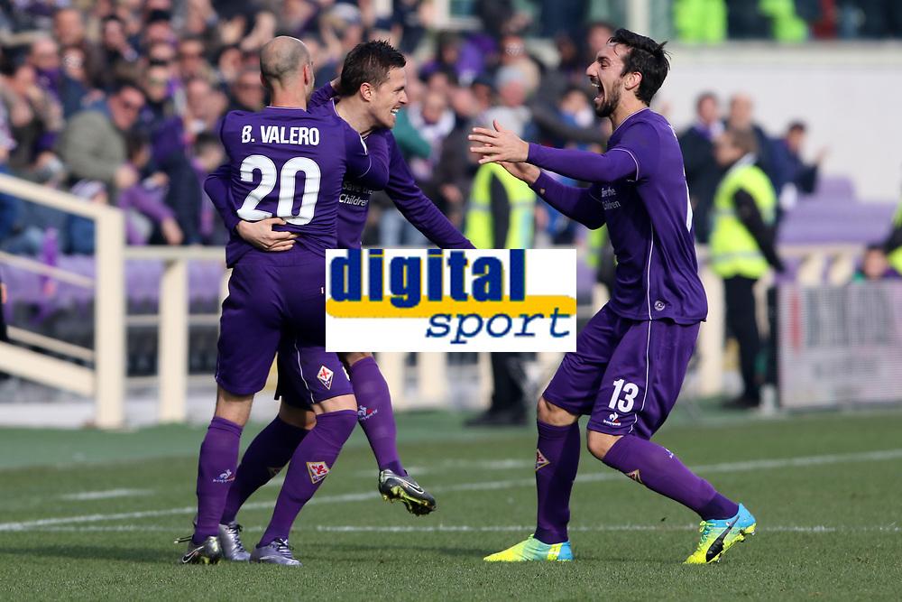 """L'esultanza dopo il gol di Josip Ilicic Fiorentina festeggiato da Iglesias Borja Valero e Davide Astori Fiorentina<br /> Goal Celebration Fiorentina<br /> Firenze 24-01-2016 Stadio """"Artemio Franchi""""<br /> Football Calcio 2015/2016 Serie A <br /> Fiorentina-Torino<br /> Foto Luca Pagliaricci / Insidefoto<br /> Fiorentina captain Davide Astori dies suddenly aged 31 . <br /> Astori was staying a hotel with his team-mates ahead of their game on Sunday away at Udinese when he passed away. <br /> Foto Insidefoto"""