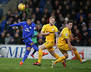 Nathaniel Mendez-Laing of Cardiff city (l) shoots well wide of goal. EFL Skybet championship match, Cardiff city v Preston North End at the Cardiff city stadium in Cardiff, South Wales on Friday 29th December 2017.<br /> pic by Andrew Orchard, Andrew Orchard sports photography.