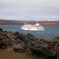 The MV Galapagos Explorer II anchored off Bartholomew Island in the Galapagos. Ecuador, South America.