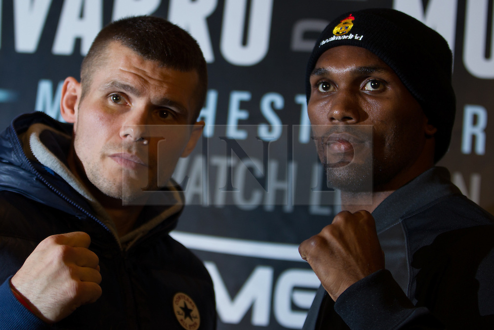 © Licensed to London News Pictures . 20/11/2012 . Manchester , UK . l-r Martin Murray and Jorge Navarro . Hatton Promotions Ricky Hatton undercard press conference at Manchester's Hard Rock Cafe today (20th November 2012) ahead of bouts at the Manchester Arena on November 24th 2012 . Photo credit : Joel Goodman/LNP