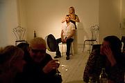 LILY LOWE-MYERS; LUCIAN ADAMOLI, Maria Grachvogel dinner during London Fashion week. Shoreditch Beach Blanket Babylon. Bethnall Green Rd. London.  15 September 2008 *** Local Caption *** -DO NOT ARCHIVE-© Copyright Photograph by Dafydd Jones. 248 Clapham Rd. London SW9 0PZ. Tel 0207 820 0771. www.dafjones.com.
