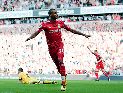 15.08.2010, Anfield, Liverpool, ENG, PL, FC Liverpool vs FC Arsenal, im Bild Liverpool's David Ngog celebrates scoring the opening goal against Arsenal. EXPA Pictures © 2010, PhotoCredit: EXPA/ Propaganda/ David Rawcliffe / SPORTIDA PHOTO AGENCY