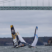 NEWPORT, RHODE ISLAND- OCTOBER 22:  The Turkish team of Ibrahim Balanli and Yasar Doga Aribas, (left) and the Japanese team of Issei Fujiki and Shinichiro Yano in action during the Red Bull Foiling Generation World Final 2016 on October 22, 2016 in Narragansett Bay, Newport, Rhode Island. (Photo by Tim Clayton/Corbis via Getty Images)