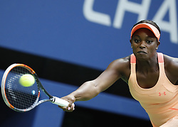 NEW YORK, Sept. 10, 2017  Sloane Stephens of the United States returns a ball to her compatriot Madison Keys during the women's singles final match at the 2017 US Open in New York, the United States, Sept. 9, 2017. Sloane Stephens won 2-0 to claim the title. (Credit Image: © Qin Lang/Xinhua via ZUMA Wire)