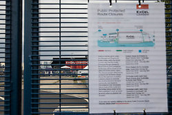 London, UK. 12th September, 2021. A notice details access restrictions around ExCeL London on the occasion of the DSEI 2021 arms fair. Activists from a range of different groups continue to protest outside the venue for one of the world's largest arms fairs.