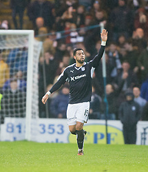 Dundee's Kane Hemmings celebrates after scoring their first goal. <br /> Dundee 2 v 1  Dundee United, SPFL Ladbrokes Premiership game played 2/1/2016 at Dens Park.