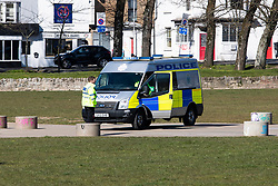 © Licensed to London News Pictures.01/04/2020. Brighton, UK. Brighton and Hove police officers patrol in The Level in Brighton and Hove t prevent members of the public to congregate in the park as the Coronavirus lock down continues in its second week. Photo credit: Hugo Michiels/LNP