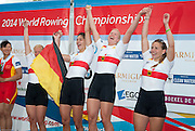 Amsterdam. NETHERLANDS.  GER W4X Gold Medalist: Bow. Annekatrin THIELE, Carina BAER, Julia<br /> LIER and Lisa SCHMIDLA, Gold  Medalist.  Bosbaan Rowing Course. 2014 World Rowing Champions . 14:26:11  Saturday  DATE}  [Mandatory Credit; Peter Spurrier/Intersport-images]