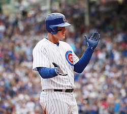 September 2, 2017 - Chicago, IL, USA - The Chicago Cubs' Anthony Rizzo reacts after his three-run triple against the Atlanta Braves during the third inning at Wrigley Field in Chicago on Saturday Sept., 2, 2017. (Credit Image: © Nuccio Dinuzzo/TNS via ZUMA Wire)