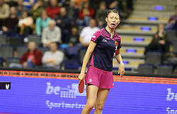30.01.2016, Max Schmeling Halle, Berlin, GER, German Open 2016, im Bild Yang Wu (CHN) verzieht ihr Gesicht // during the table Tennis 2016 German Open at the Max Schmeling Halle in Berlin, Germany on 2016/01/30. EXPA Pictures © 2016, PhotoCredit: EXPA/ Eibner-Pressefoto/ Wuest<br /> <br /> *****ATTENTION - OUT of GER*****