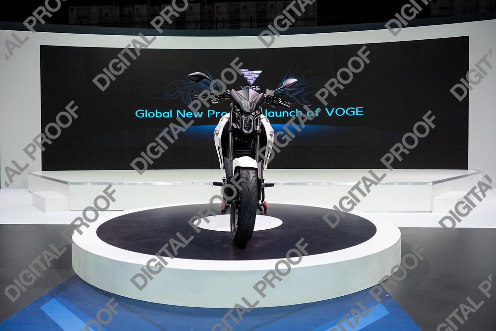 RHO Fieramilano, Milan Italy - November 07, 2019 EICMA Expo. presentation of Voge motorcycle ER 10 in EICMA 2019