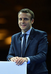 Former French Economy Minister, founder and president of the political movement En Marche ! (Underway !) and candidate for the 2017 presidential elections Emmanuel Macron speaks during a campaign rally on December 10, 2016 in Paris, France. Photo By Christian Liewig/ABACAPRESS.COM