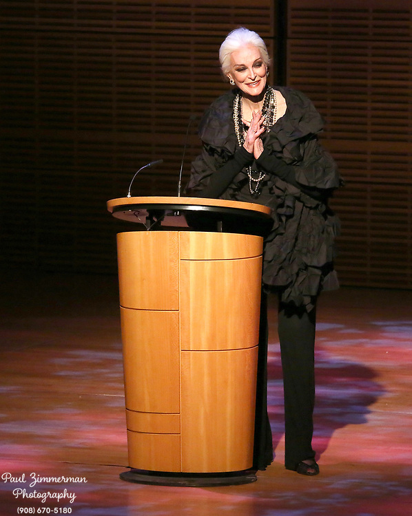 NEW YORK, NY - OCTOBER 27:  Fashion model and actress Carmen Dell'Orefice speaks at the 11th Annual Lucie awards at Zankel Hall, Carnegie Hall on October 27, 2013 in New York City.  (Photo by Paul Zimmerman/WireImage)