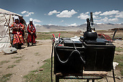 Batteries, powered by solar panels, are used to charge 2-way radios which are used to communicate between camp and the shepherd - radios have been in the Pamir since approximately 2010. The summer camp of Kara Jylga, Mullah Abdul Haq place...Trekking through the high altitude plateau of the Little Pamir mountains (average 4200 meters) , where the Afghan Kyrgyz community live all year, on the borders of China, Tajikistan and Pakistan.
