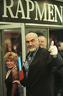Co-star of the film Entrapment, Sean Connery, arriving with his wife Micheline at the UK Premieré of the film at the Odeon in Edinburgh. The American film was directed by Jon Amiel, and starred Sean Connery and Catherine Zeta-Jones. The original music score was composed by Christopher Young.