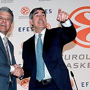 Jordi Bertomeu, CEO of Euroleague Basketball (R) and Alejandro Jimenez (L), Anadolu Efes Beer Group President Efes Pilsen and Euroleague Basketball Press Conference at Ciragan Palace Kempinksi at Istanbul, Turkey 09 May 2012. Photo by TURKPIX