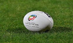 A Four Nations rugby ball during the Ladbrokes Four Nations match at the KC Lightstream Stadium, Hull. PRESS ASSOCIATION Photo. Picture date: Friday October 28, 2016. See PA story RUGBYL Australia. Photo credit should read: Dave Howarth/PA Wire. RESTRICTIONS: Editorial use only. No commercial use. No false commercial association. No video emulation. No manipulation of images.