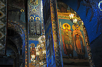 A multitude of decorated arches inside the Church of Our Savior on the Spilled Blood, built where Emperor Alexander II was assassinated in 1881 in St. Petersburg, Russia.