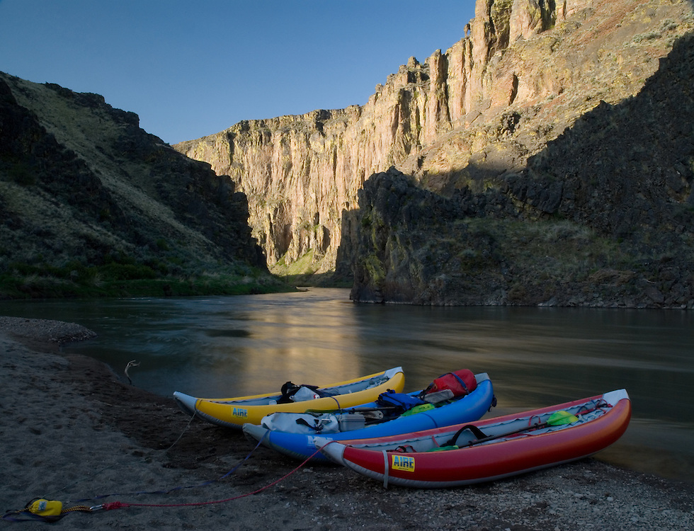Inflatable kayaks on the shoreline of the East Fork of the Owyhee River in Idaho.