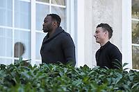 Steve Mandanda / Laurent Koscielny  - 23.03.2015 -Equipe de France - Arrivee des joueurs a Clairefontaine<br />Photo : Andre Ferreira / Icon Sport