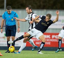 St Mirren's Andy Webster and Falkirk's Will Vaulks. <br /> Falkirk 3 v 0 St Mirren. Scottish Championship game played 21/10/2015 at The Falkirk Stadium.