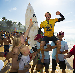 December 18, 2017 - Banzai Pipeline, Hawaii, U.S. - JOHN JOHN FLORENCE of Hawaii is carried after winning his semifinal heat at the Billabong Pipe Masters, giving him enough points to win the World Surf League World Title. (Credit Image: © Erich Schlegel via ZUMA Wire)