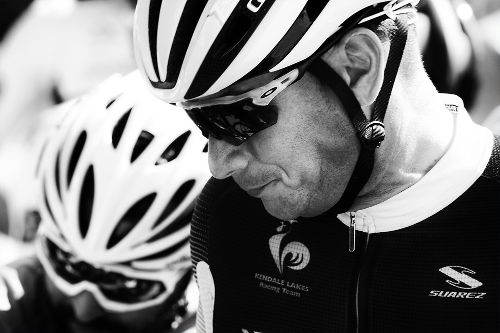 A pensive racer at the start line.