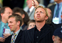 Boris Becker the former Wimbledon Tennis Champion watches the game from the stand. England v Germany. Euro 2000. Charleroi, Belgium 17/6/00. Credit: Colorsport.