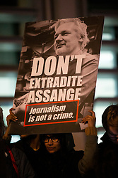 © Licensed to London News Pictures. 05/11/2019. London, UK. Activists gather outside the Home Office to show their support for Wikileaks founder Julian Assange . Photo credit: George Cracknell Wright/LNP