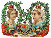 Victoria (1819-1901) Queen of Great Britain and Ireland from 1838. Scrapbook souvenir for her Jubilee of 1887 showing her then and at her accession in 1837. Chromolithograph