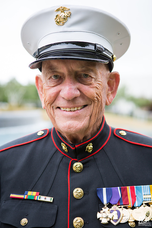 Denny Weisgerber, former Milpitas Mayor and United States Marine Corps Gunnery Sergeant, poses for a portrait during the Milpitas Memorial Day Ceremony at Veterans Memorial Flag Plaza in Milpitas, California, on May 27, 2013. (Stan Olszewski/SOSKIphoto)