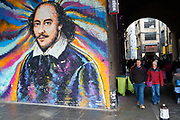 Street art of William Shakespeare on the South Bank in London, England, United Kingdom.