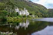 Kylemore Abbey, a view across Pollacappul Lake. A Benedictine community open seven days a week all year round. Located in Connemara in the west of Ireland. Built by Mitchell and Margaret Henry in the 1850's.
