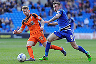 Cardiff City's Joe Ralls (r) goes past Ipswich's Luke Hyam. Skybet football league championship match, Cardiff city v Ipswich Town at the Cardiff city stadium in Cardiff, South Wales on Saturday 12th March 2016.<br /> pic by Carl Robertson, Andrew Orchard sports photography.